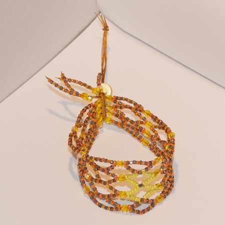Bracelet Grains de folie jaunes, orange et gris