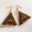 Boucles d'oreilles peyote triangles orange et noirs